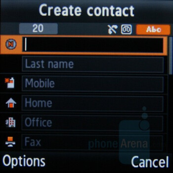 Contacts - Samsung SGH-E590 Review