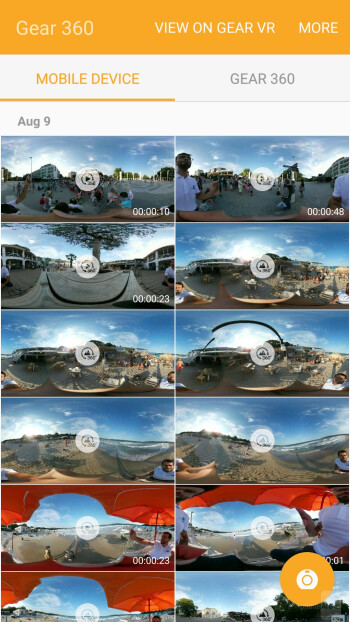 UI of the Samsung Gear 360 Manager - Samsung Gear 360 vs LG 360 Cam: comparison