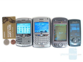 from Left to Right and Bottom to Top - BlackBerry Curve, BlackBerry 8830, HTC Mogul, Samsung U600 - RIM BlackBerry Curve Review
