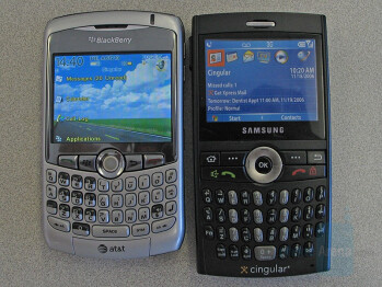 the Curve next to Samsung BlackJack - from Left to Right and Bottom to Top - BlackBerry Curve, BlackBerry 8830, HTC Mogul, Samsung U600 - RIM BlackBerry Curve Review