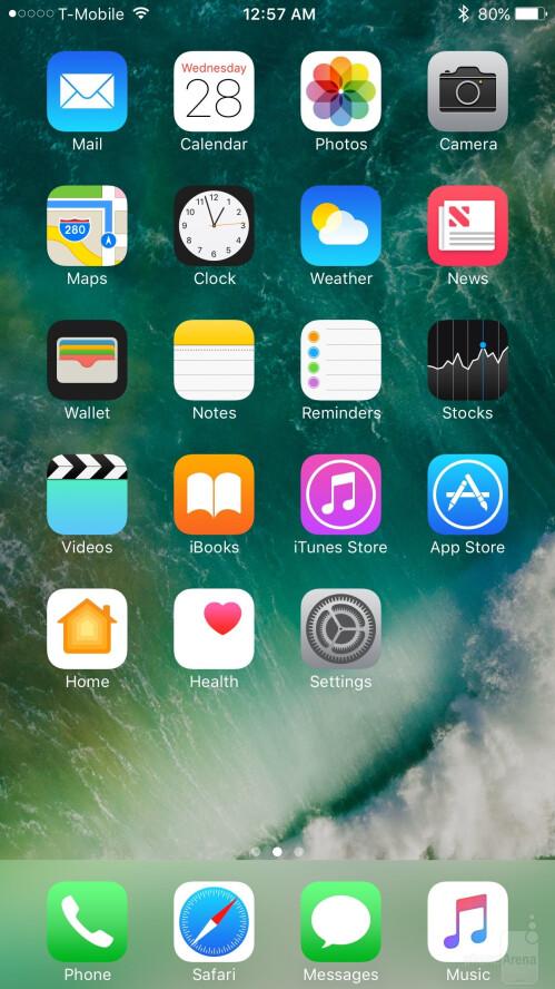 iOS 10 on the Apple iPhone 7 Plus