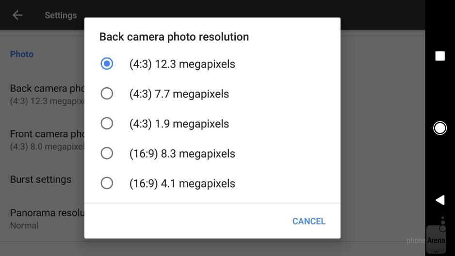 Camera interface of the Google Pixel - Google Pixel vs Samsung Galaxy S7