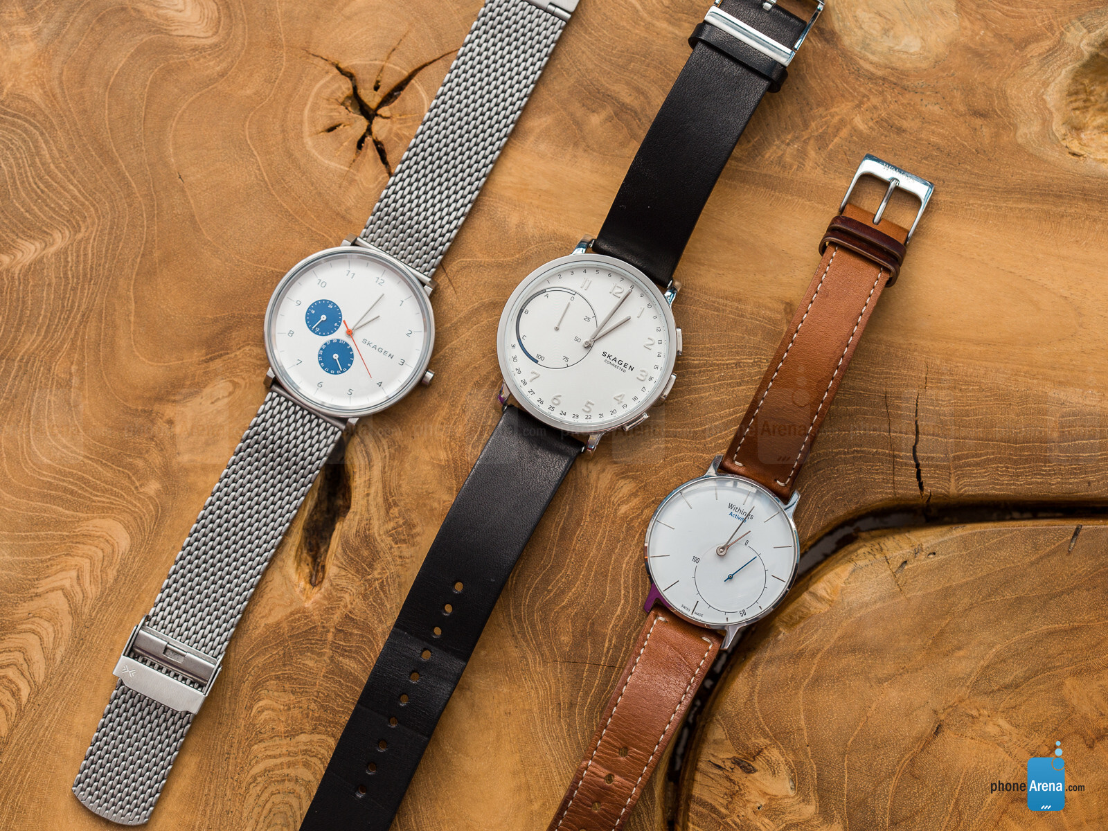 Skagen Hagen non-smart, Skagen Hagen Connected, Withings Activité Sapphire (left to right)
