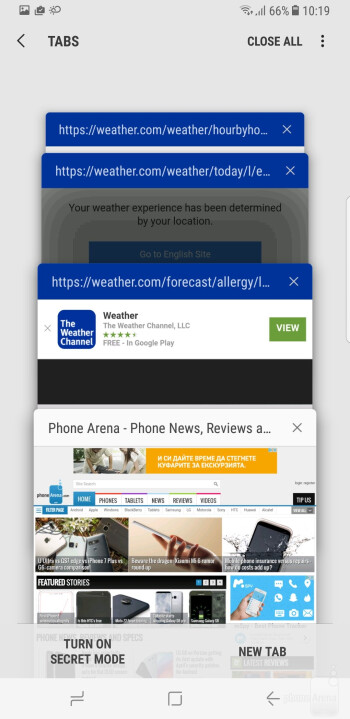 Samsung continues to develop its own web browser - Samsung Galaxy S8+ Review