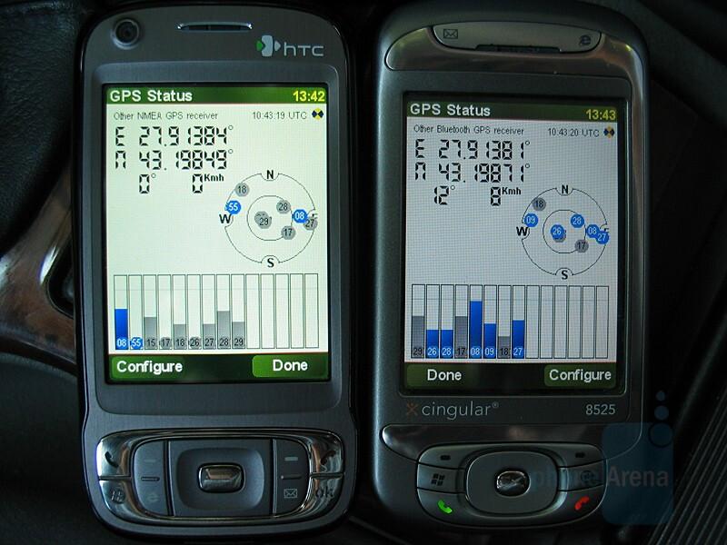 GPS Signal - TyTN II's gpsOne (left) vs SirfStar III connected to TyTN - HTC TyTN II Review