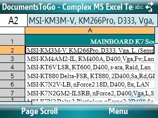 Excel sheet - Motorola Q9m Review