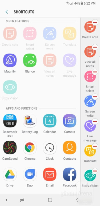 Samsung's interface on the Note 8 - Samsung Galaxy Note 8 vs Apple iPhone 7 Plus