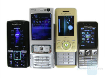 Sony Ericsson K850, Nokia N95, Sony Ericsson S500, Sony Ericsson K530 (left to right and bottom to top) - Sony Ericsson K850 Preview