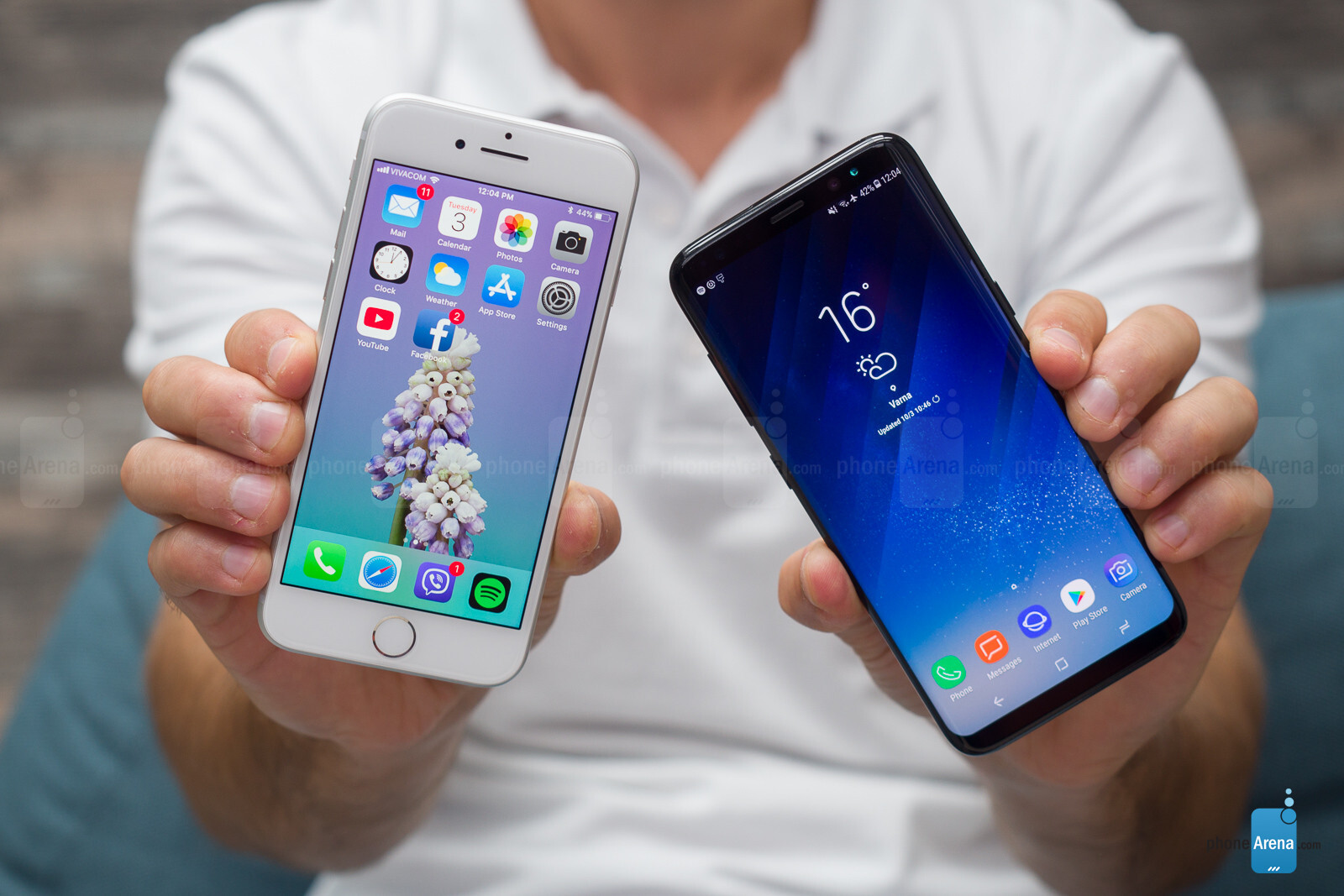 Samsung galaxy s8 vs iphone 8 photos