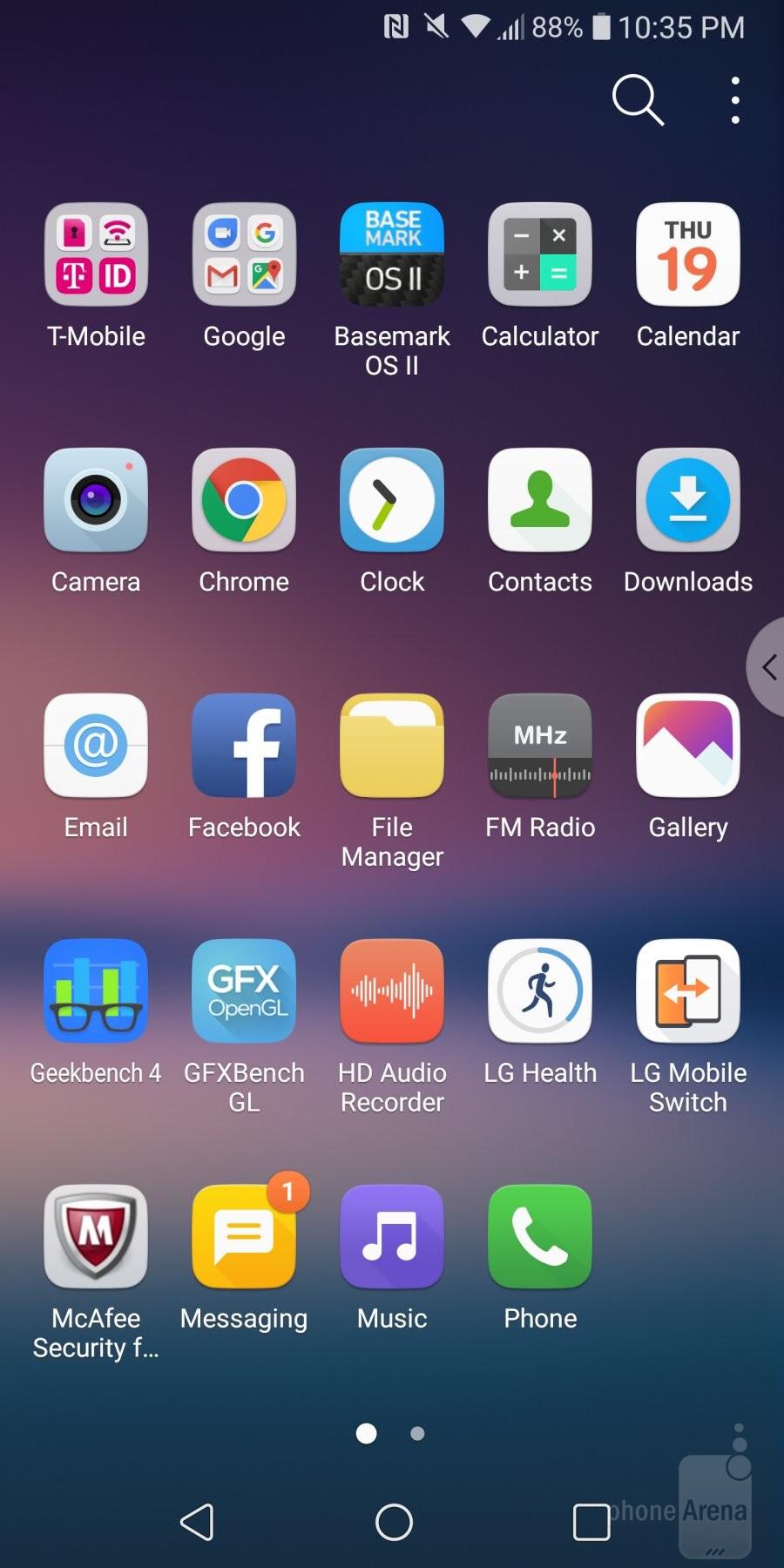 UI on the LG V30 - Samsung Galaxy S9+ vs LG V30