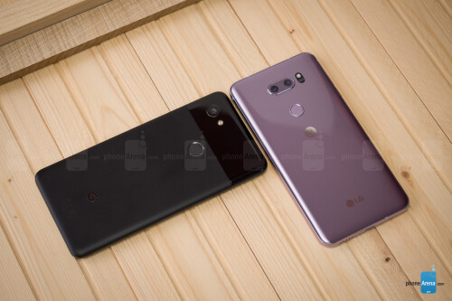 Google Pixel 2 XL, next to the LG V30