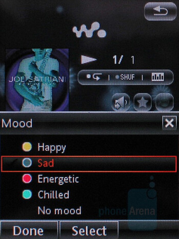 Moods selection - Sony Ericsson W960 Preview