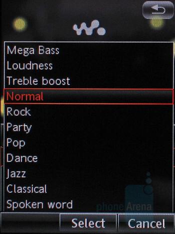 Equalizer list - Sony Ericsson W960 Preview