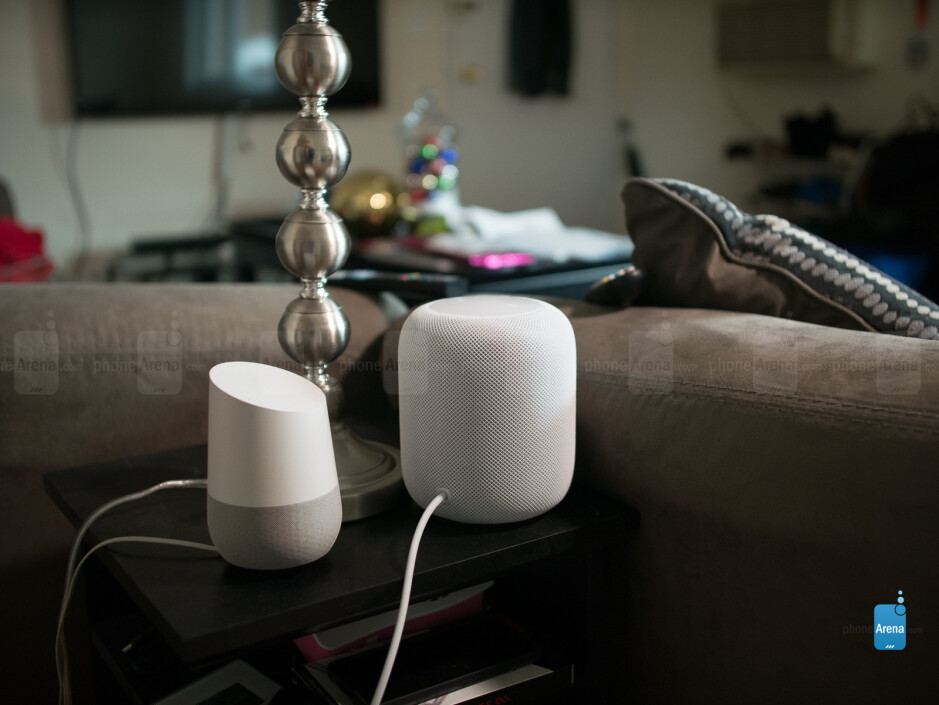 The Google Home next to HomePod - Apple HomePod Review