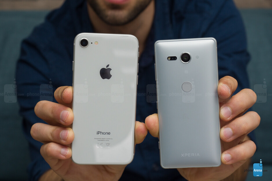 The Xperia XZ2 compact next to the iPhone 8 - Sony Xperia XZ2 Compact Review