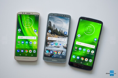 Left to right - G6 Play, Moto G6, G6 Plus