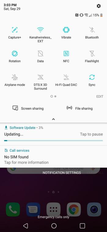 Interface of the LG V40 ThinQ - Google Pixel 3 XL vs LG V40 ThinQ