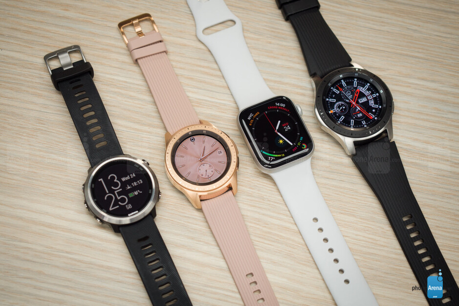 From left to right - Garmin FR 645, Galaxy Watch 42mm, Apple Watch, Galaxy Watch 46mm - Samsung Galaxy Watch Review