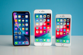 iPhone XR next to iPhone 8 Plus and iPhone 8 - Apple iPhone XR Review