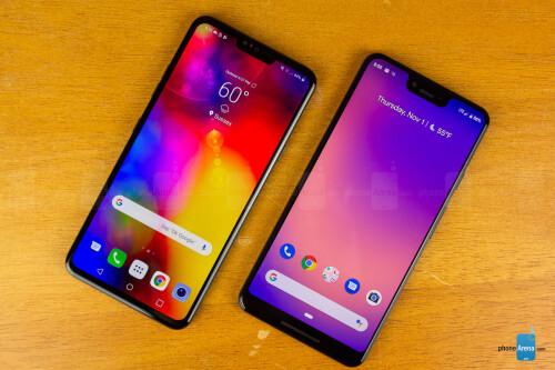 Google Pixel 3 XL - right, LG V40 ThinQ - left