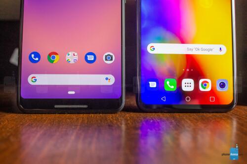 Google Pixel 3 XL - left, LG V40 ThinQ - right