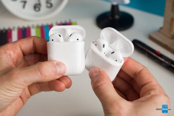 New AirPods (left) vs old AirPods (right) - Apple AirPods with Wireless Charging Case Review