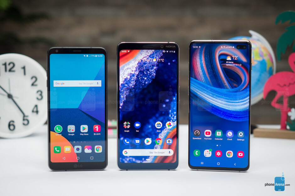 Left to right - LG G6, Nokia 9 and Galaxy S10+ - Nokia 9 PureView Review