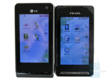 LG Viewty (left and bottom) next to LG Prada (right and top) - LG Viewty Preview