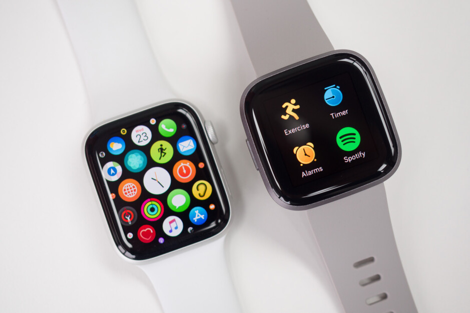 Apple Watch Series 5 on the left, Fitbit Versa 2 on the right - Samsung Galaxy Watch Active 2 Review