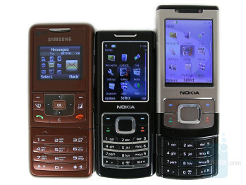 From Left to Right and Bottom to Top - Samsung F500,Nokia 6500 classic, Nokia 6500 slide - Samsung SGH-F500 Review