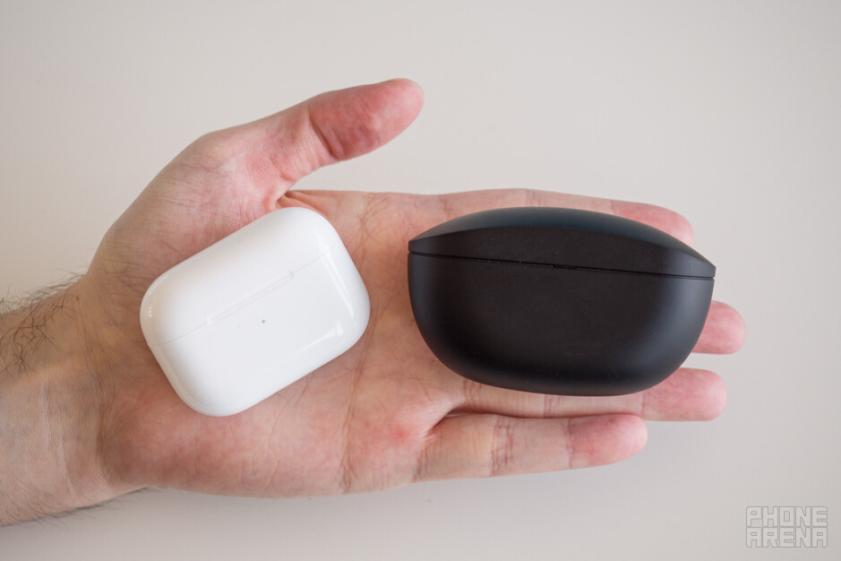 The AirPods Pro case (left) compared to the Sony WF-SP800N case - Sony WF-SP800N review