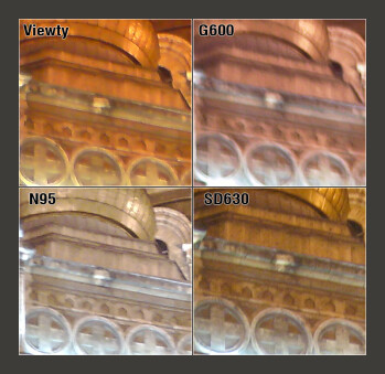 100% Crop - LG Viewty, Samsung G600 and Nokia N95 Camera Comparison