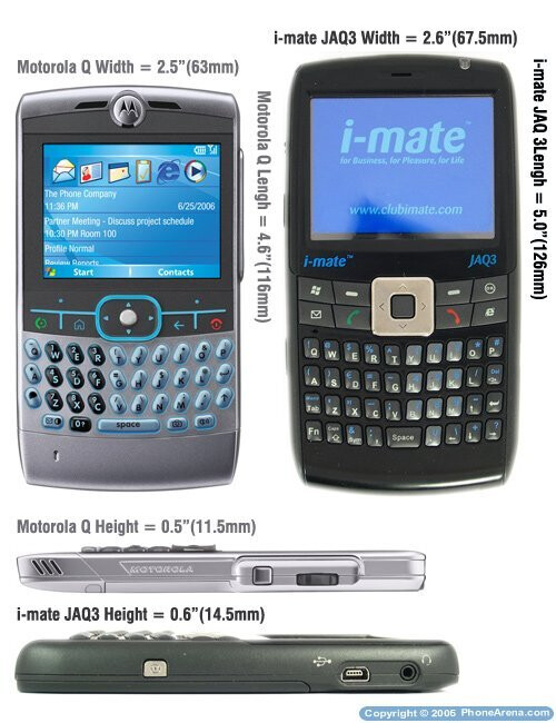 Motorola Q compared to the i-mate JAQ3 - i-mate JAQ3 Preview