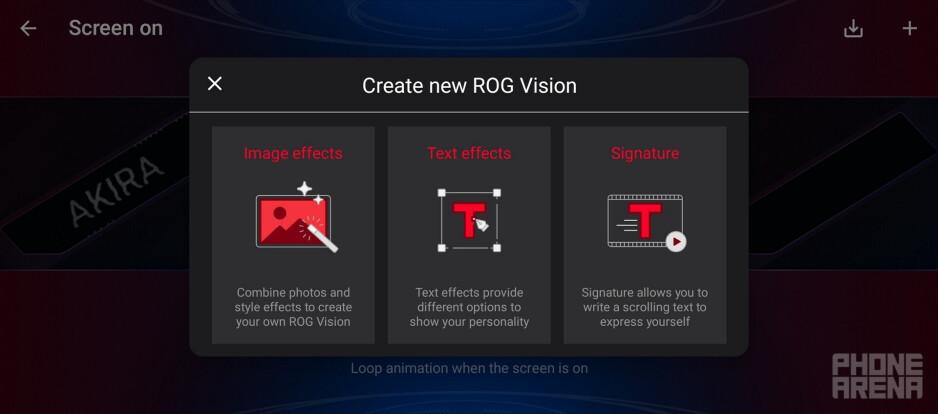 The ROG Vision display settings - Asus ROG Phone 5 Ultimate review