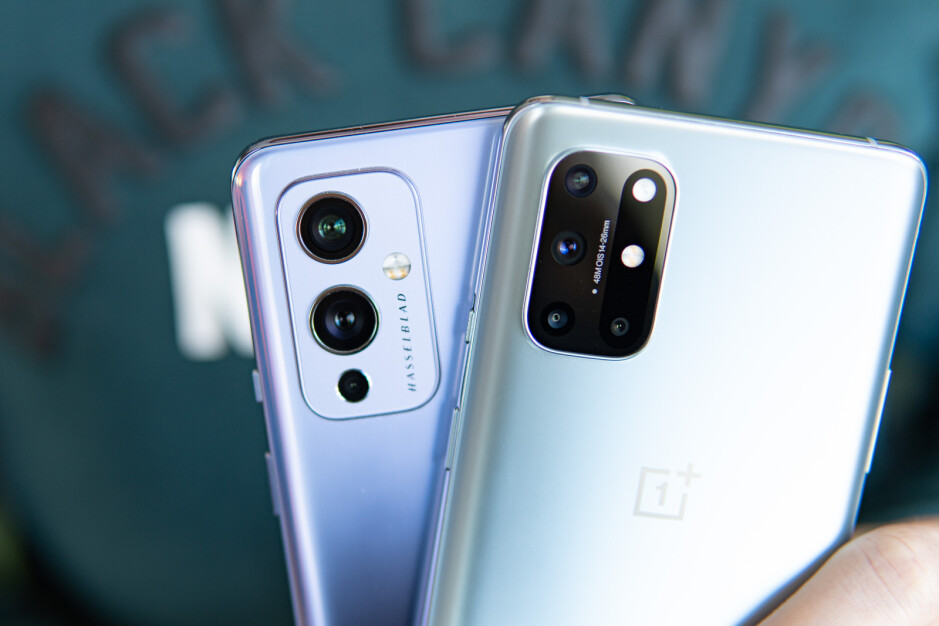 The OnePlus 9 camera module with Hasselblad branding (left) and the OnePlus 8T camera module - OnePlus 9 vs OnePlus 8T