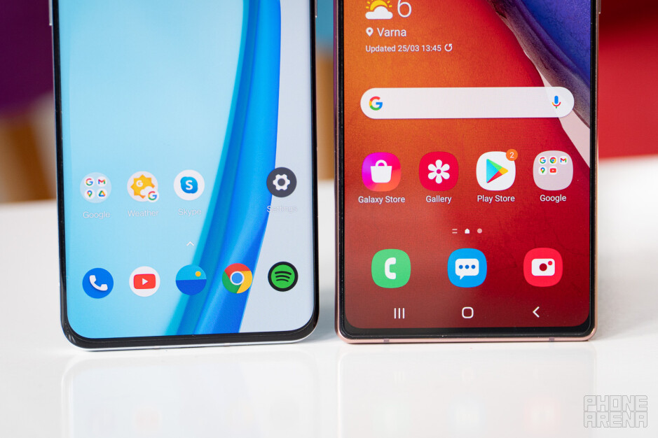 The OnePlus 9 Pro (left) and Galaxy Note 20 (right) - OnePlus 9 Pro vs Samsung Galaxy Note 20