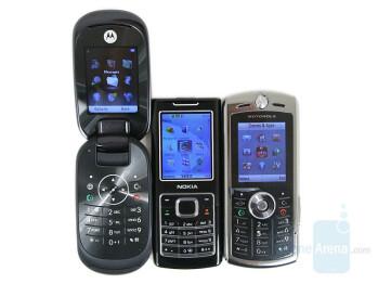 Left to right and bottom to top - Moto U9, Nokia 6500 classic, Motorola L9 - Motorola MOTO U9 Preview