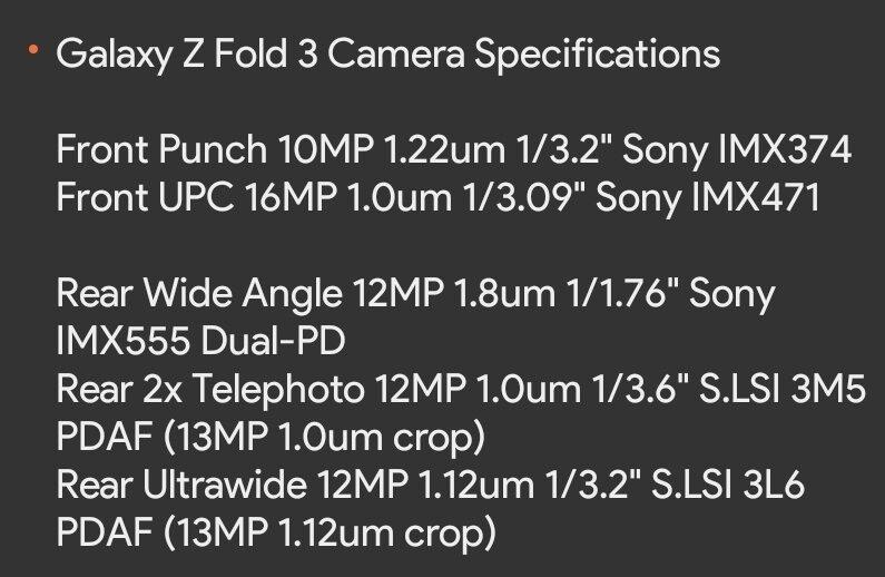Galaxy Z Fold 3 camera specs - Samsung Galaxy Z Fold 3 vs Z Fold 2