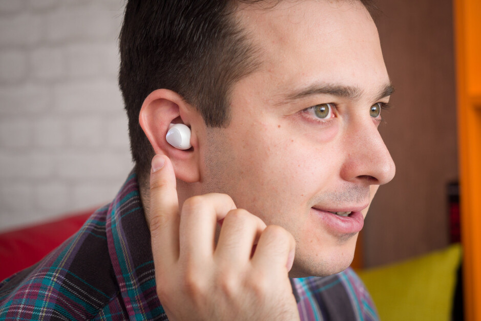 Galaxy Buds 1 in-ear, note how their touch-sensitive area is a different color, which likely won't be the case with the Buds 2 - Samsung Galaxy Buds 2 vs Galaxy Buds 1: Differences we expect so far