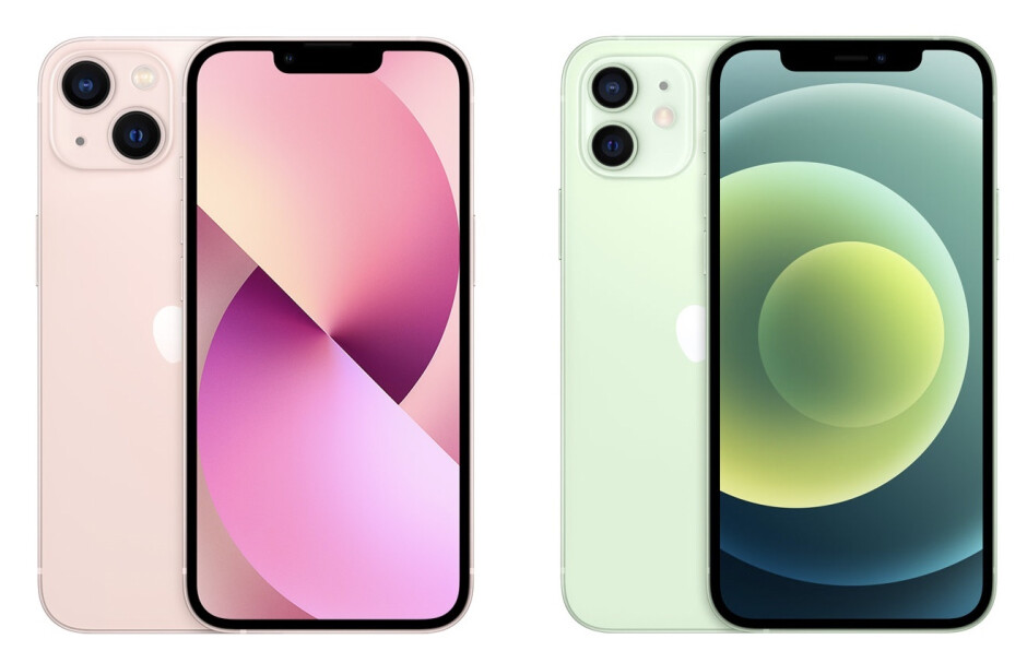 You can now have the iPhone 13 in pink (left), while green option is gone (iPhone 12 in green on the right) - iPhone 13 vs iPhone 12