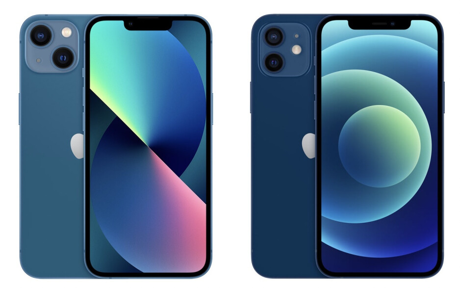iPhone 13 has a more washed out blue color (left) vs iPhone 12 (right) - iPhone 13 vs iPhone 12
