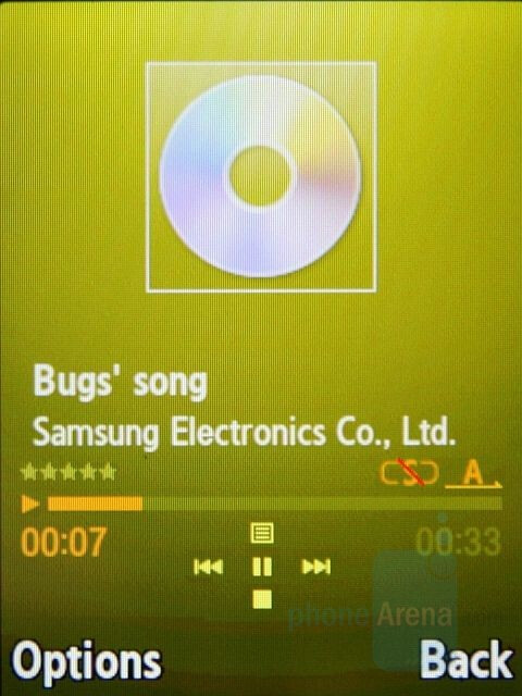 Now Playing - Music Player interface - Samsung SGH-G800 Preview