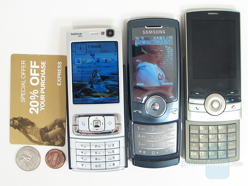 left to right - Nokia N95 US, Samsung U600, T-Mobile Shadow; bottom to top Nokia N95, T-Mobile Shadow, Samsung U600 - Nokia N95 US Review