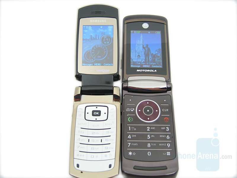 left and down - Samsung Gleam, right and up - Motorola RAZR V9m - Samsung Gleam Review