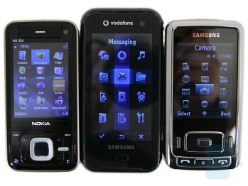 left to right and bottom to top - Nokia N81 8GB, Samsung SGH-F700, Samsung SGH-G800 - Nokia N81 8GB Review