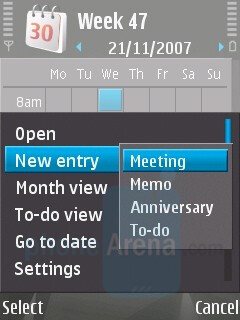 Calendar - Nokia N81 8GB Review