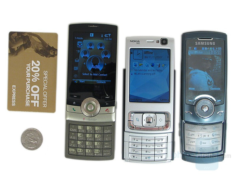 Left to right - T-Mobile Shadow, Nokia N95US, Samsung U600; Bottom to top - T-Mobile Shadow, Samsung U600, Nokia N95US - T-Mobile Shadow Review