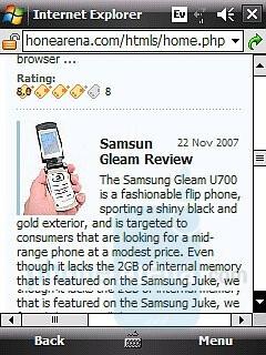 Internet Explorer Mobile - HTC Touch CDMA Review