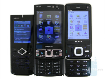 Left to right and bottom to top - Prism 7900, Nokia N95 8GB, Nokia N81 8GB - Nokia 7900 Prism Review