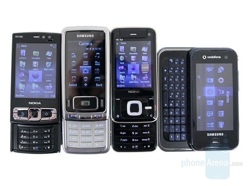 Left to right and bottom to top - Nokia N95 8GB, Samsung G800, Nokia N81 8GB, Samsung F700 - Nokia N95 8GB Review